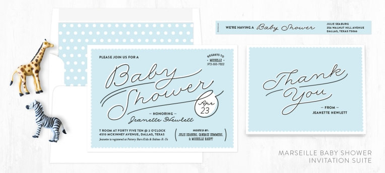 Image of Marseille baby shower invitations, thank you note, label and envelope liner.