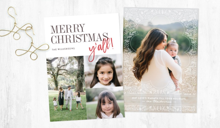 Merry Christmas, y'all and Winter Window holiday photo cards